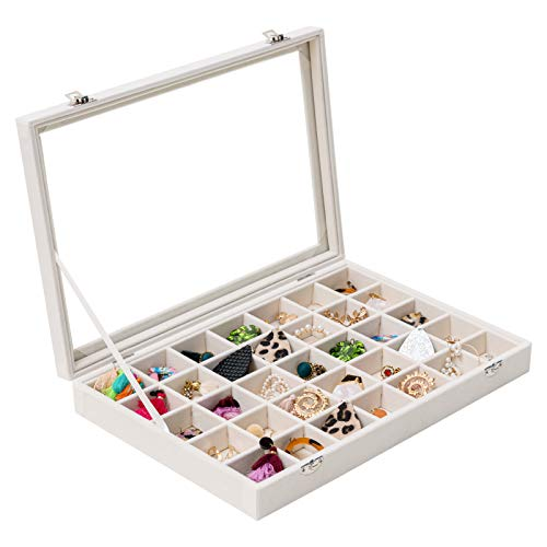 Mebbay Jewelry Box with Lid, Stackable 35 Grid Jewelry Tray for Jewelry Storage Display (Creamy White)