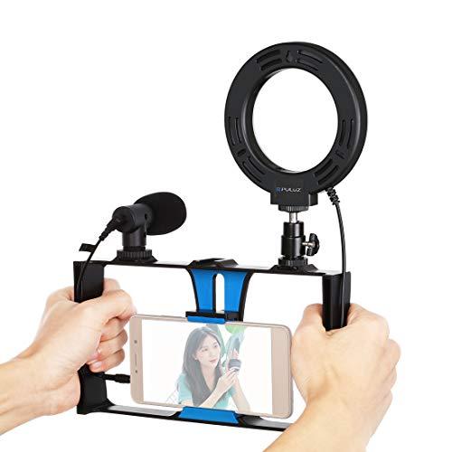 Vlogging PKT3027 - Soporte de aluminio para iPhone, Galaxy, otros smartphones (azul + luz de relleno + micrófono, para grabación)