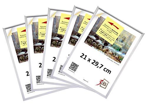 3B Set di 5 Pieces Cornici Alu Foto 21x29,7 cm (A4) - Argento Opaco - Telaio in Alluminio, Cornice Foto