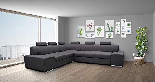 Quattro Meble Echtleder Ecksofa London RE 6z 277 x 247 Sofa Couch mit Schlaffunktion, Bettkasten und Kopfstützen Echt Leder Eck Couch große Farbauswahl (Ecke Links 247 x 277)