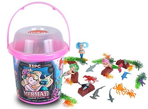 Wild Republic Mermaid Figurines, Toy Bucket, Mermaid Doll, Aquatic Animals, Gifts for Girls, Bath Toys, 33-Pieces