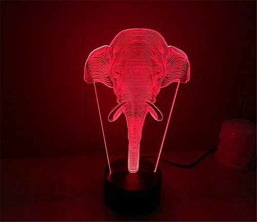 SmartEra 3d ilusión óptica larga nariz elefante iluminación nocturna cambio de 7colores USB Touch botón LED escritorio lámpara de mesa