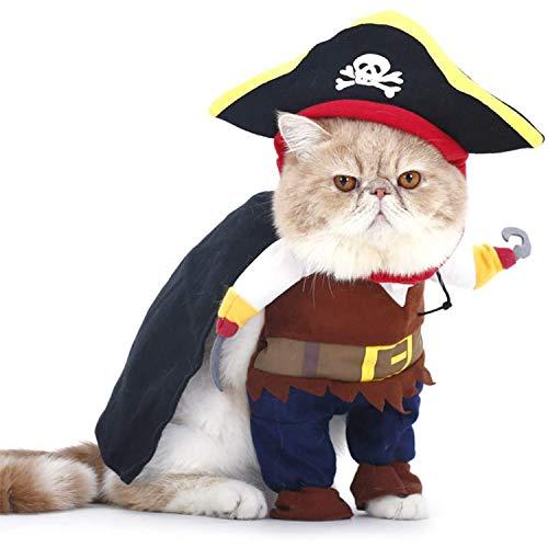 PTN Costume da Pirata per Animali Domestici, per Cane e Gatto Costume da Cosplay, Halloween Natale Vestito da Festa