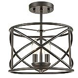 H&K Industrial Metal Drum Black Semi-Flush Mount Ceiling Light for Dining Room, Kitchen, Hallway, Entry, Foyer, Living Room,2-Light