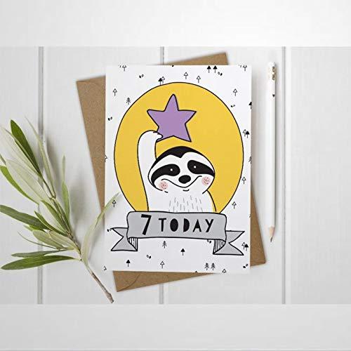 Tarjeta de 7º cumpleaños con sobre 7 Today Custom Girls Boys Badger Daughter Son Sobrino Tarjeta de felicitación en blanco