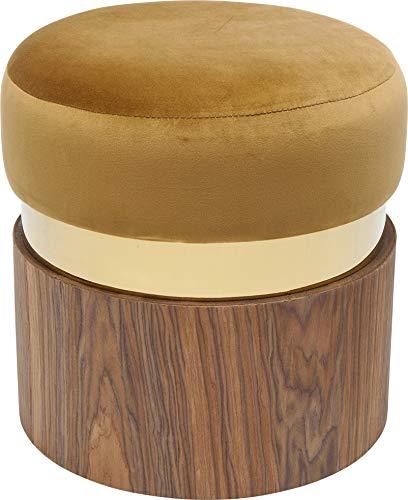 Kare Design Hocker Lilly Senf Ø39cm, edler Dekohocker in Holzoptik und Sitzfläche in Gelb Senf, mit goldener Umrandung, (H/B/T) 40x39x39cm