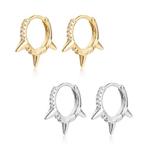 2 Pairs Spike Huggie Hoop Earrings|18K Gold Plated Small Cubic Zirconia Sleeper Cuff Earrings for Women Men Gifts