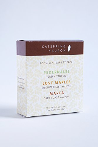 CatSpring Yaupon - Variety Pack with Green, Medium Roast, & Dark Roast Black Yaupon Tea - Loose Leaf - Naturally Caffeinated and Sustainable - Harvest & Made in USA {3 of our 1/2 oz packs}