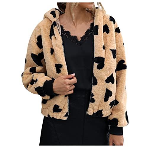Dasongff Veste Polaire Femme avec Capuche Grande Taille Hiver Vestes Teddy Fausse Fourrure Peluche Manteau Chaud Épais Blouson Outwear imprimé Coat Hooded Cardigan Coupe Vent