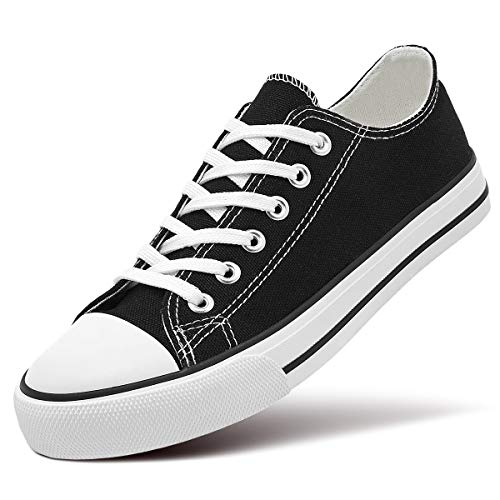 ZGR Women's Canvas Low Top Sneaker Lace-up Classic Casual Shoes (10 B(M) US, Black)