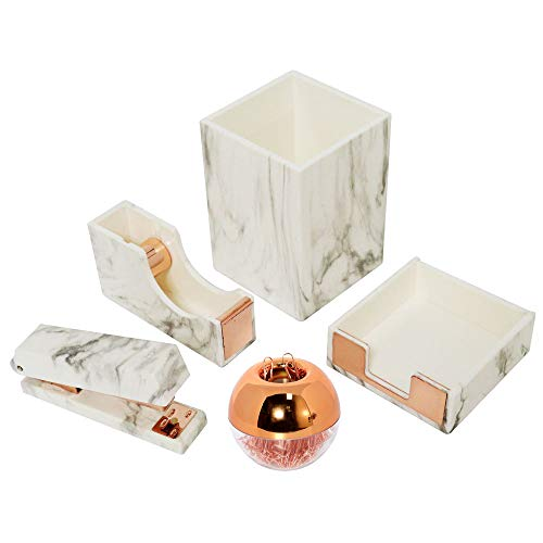 Multibey White Marble Office Supplies Desk Organizers, 7 in 1 Desktop Organization Accessories Set of Pen Holder Stapler Paper Clips Sticky Notes Pad Holder Tape Dispenser (Marble white and rose gold)