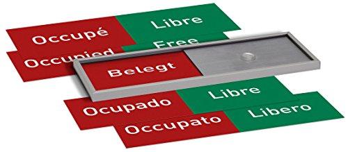 Madrid Silver Line Frei-/Belegt Anzeige mehrsprachig 50x150mm Set | Büro Frei- Besetzt | für Türschild Büroschild