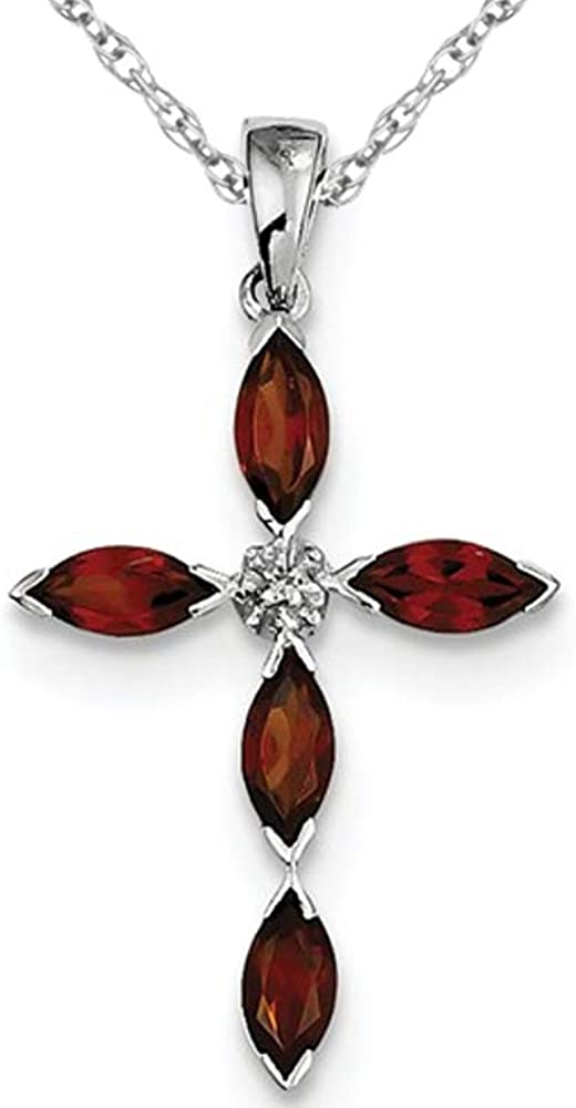 1.50 Carat ctw Garnet online shopping Cross Silve in Necklace Pendant Sterling Max 87% OFF
