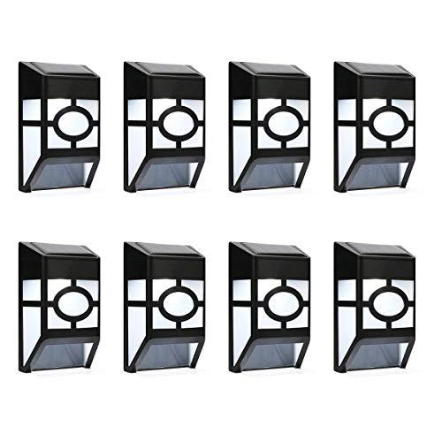Derlights - Luci da parete a energia solare, per esterni, impermeabili, per recinzioni, giardino, cortile, tetto, paesaggio, decorazione (8 pezzi)