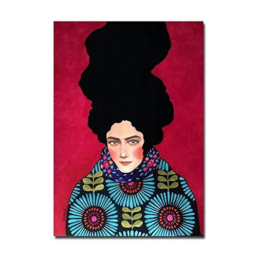 BGFDV Cartel Abstracto Moderno Cartel de la Lona de la Muchacha de la Moda e impresión Mural decoración del Arte de la Pared de la Sala de Estar
