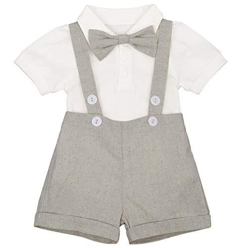 Traje de esmoquin de manga corta para niños recién nacidos, mameluco + pantalones cortos + pajarita, 3 piezas de verano para cumpleaños, ropa de boda, gris, 24 meses
