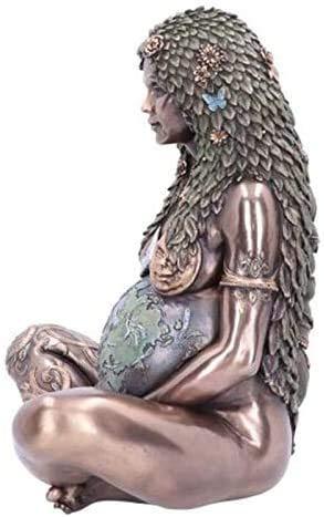 Millennial Gaia Statue Gaia Figur Mutter Erde Gaia Art Statue Figur Mutter Erde Göttin Statue Ostern Dekoration Geschenk Garten Ornament Outdoor Decor (Silber)