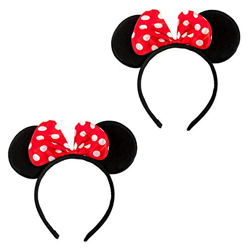 Oblique Unique® 2X Haarreifen mit Maus Ohren und Schleife Schwarz Rot Weiß Gepunktet Mouse Haarreif für Fasching Karneval Kostüm Motto Party