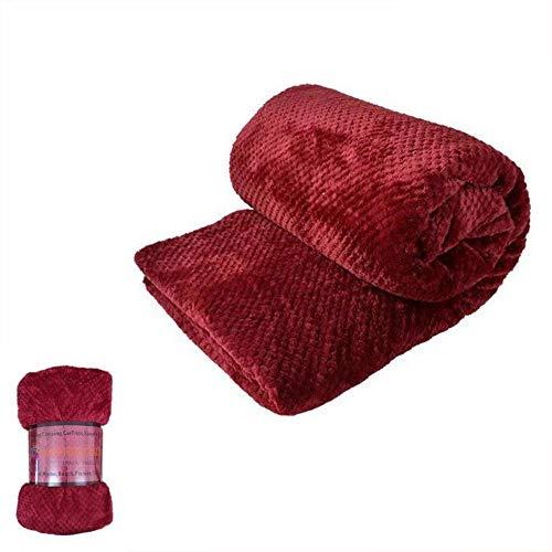 HTE Manta Suave de Microfibra 130 X 160 cm Individual para Sofá, Sillón,Cama, para Adultos y Niños (Rojo)