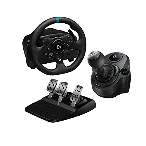Logitech G G923 Volante y Pedales de Carrera, TRUEFORCE, Embrague Dual, para Xbox y PC y Palanca de Cambio para Volante, 6 Velocidades, Marcha Atrás a Presion, Acero y Cuero auténtico