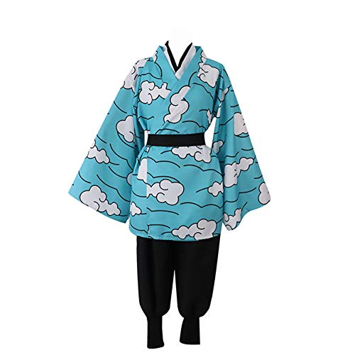 LISI Kimono Anime Demon Slayer: Kimetsu No Yaiba Kamado Tanjirou, Cosplay Costume Disfraz Halloween Juguetes Juegos Uniforme Conjunto Completo + Pendiente (5 Piezas),A,XL