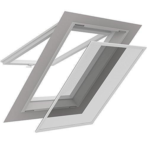 PROHEIM Insektenschutz für Dachfenster 140 x 170 cm Alu Profil in weiß bedampftes aluminiumbedampftes Fliegengitter für Sonnenschutz