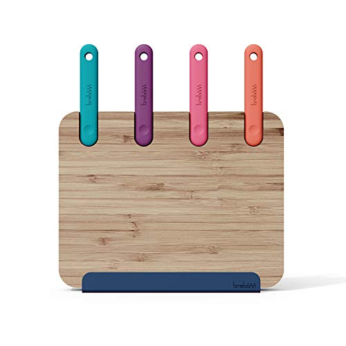 Trebonn - Block Chopping Station - Juego de 4 cuchillos de acero inoxidable japonés con base de bambú, soporte para smartphone y tablet y tabla de cortar de bambú (30 x 20 cm)