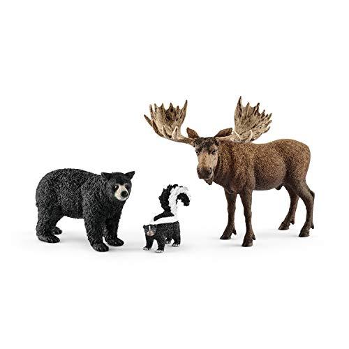 Schleich- Set 3 Figuras Habitantes del Bosque - Alce, Oso Ne