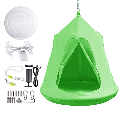 Hanging Tree Tent, Hammock Swing Chair, Portable Tent Play House, with LED Rainbow Lights,...