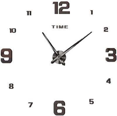 Gquan Digital Wall Clock No Border Mute Wall Clock for Bedroom Kitchen (Color : Black