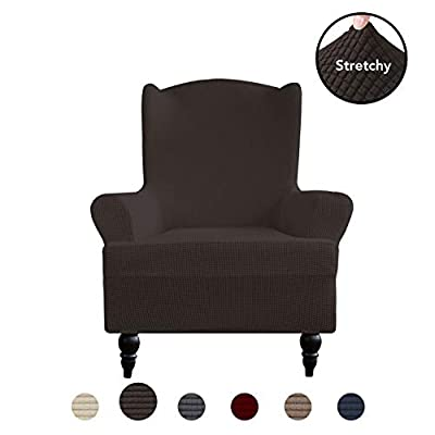 PureFit Stretch Wing Chair Sofa Slipcover – Spandex Jacquard Non Slip Soft Couch Sofa Cover, Washable Furniture Protector with Non Skid Foam and Elastic Bottom for Kids (Wing Chair, Chocolate)
