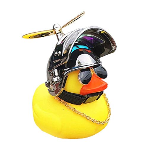 ROSETOR 1Pc Bike Horn Cute Bicycle Lights Bell, Rubber Duck Toy Car Ornaments Yellow Duck Car Dashboard Decorations for Adults, Kids, Men,Women (Bright black)