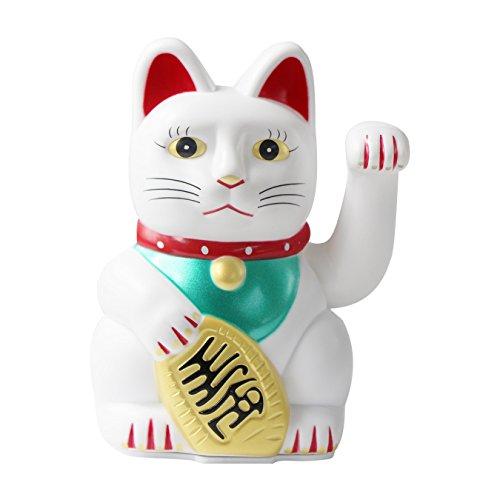 """UOOOM 5 """"Maneki Neko Ondeando Lucky Cat Feng Shui Fortune Money Cat para la decoración del coche del hogar (blanco)"""