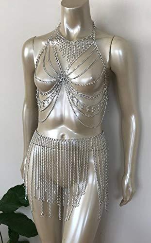 DIOH Arnés de Cadena de Cuerpo de Diamantes de imitación de Borla Sexy para Mujer Declaración Ropa Interior de Cristal Brillante Joyería Bikini Sujetador Cadena de Cintura