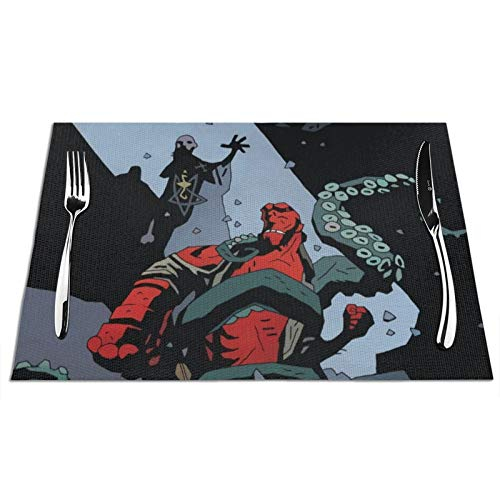 VOROY Hell-Boy - Manteles individuales para decoración de mesa de comedor, cuadrados,...