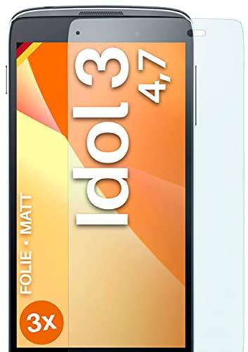 moex Schutzfolie matt kompatibel mit Alcatel OneTouch Idol 3 4.7 - Folie gegen Reflexionen, Anti Reflex Bildschirmschutz, Matte Bildschirmfolie - 3X Stück