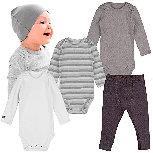 Kit body bebe manga longa e calça jeans infantil minimalista 4 peças (24 meses, Cinza - Confort)