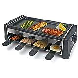 HengBO Raclette Grill 8 Personas Parrillas Eléctricas de Madera con 8 Mini Sartenes y 4 Espátulas, Antiadherente Termostato, 1300W