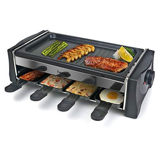 Raclette Grill 8 Personen, Raklettgerät mit 8 Raclette Pfännchen, Einstellbarer Thermostat Antihaft-Beschichtung, 1300W