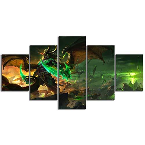TIANJJss 5 canvas prints 5 stuks spel poster tekening kunst Hd canvas schilderijen wandkunst voor wooncultuur