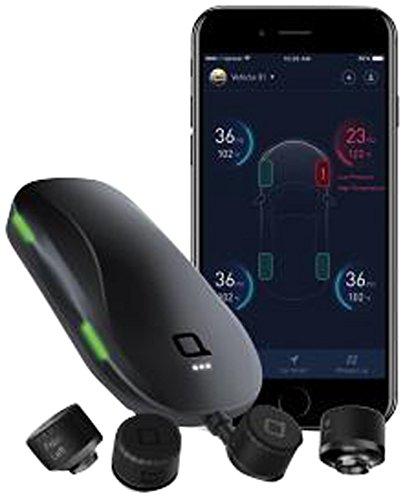 Nonda Smart Tire Saftey Monitor - Reifendruckkontrollsystem mit externen Sensoren, praktische Bluetooth-Überwachung in Echtzeit, für Android & iOS, Auto-Reifendruckmesser, Reifendrucksensor - Schwarz