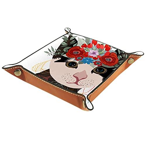 Encantador gato en una corona de flores para hombres y mujeres, joyería bandeja para llaves para mesita de noche o entrada