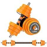 Gruper Weights Dumbbells Set, 44Lbs 2-in-1 Adjustable Weights Dumbbells Barbell Set for Men Women...