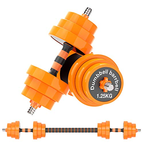 Gruper Weights Dumbbells Set 44Lbs 2in1 Adjustable Weights Dumbbells Barbell Set for Men Women Home Gym Office Strength Training with Steel Connecting Rod