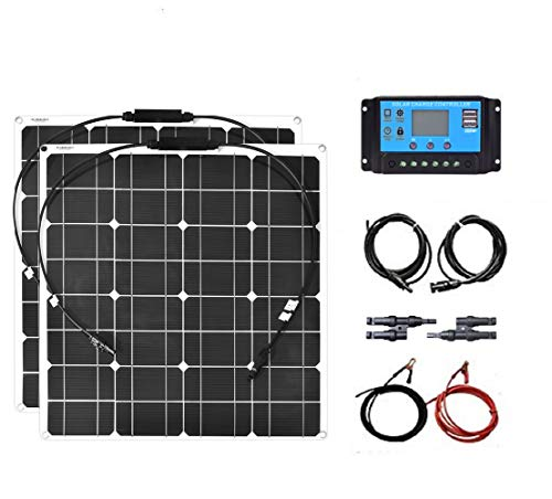 XINPUGUANG Cavo fotovoltaico flessibile da 100 W Kit Pannelli solari flessibili da 50 Watt regolatore solare 10A Cavo fotovoltaico per camper Camper Car Boat Batteria da tetto 12V / 24V (100)