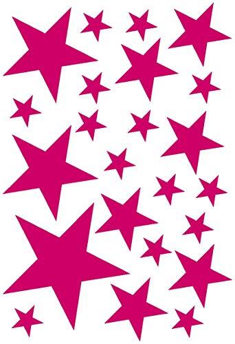 Samunshi® Sterne Aufkleber Set gefüllt 14x2,5cm6x5cm2x7,5cm1x10cm pink