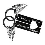 Llavero de la pérdida del bebé con texto en inglés «Mommy of an Angel Daddy of an Angel Key»