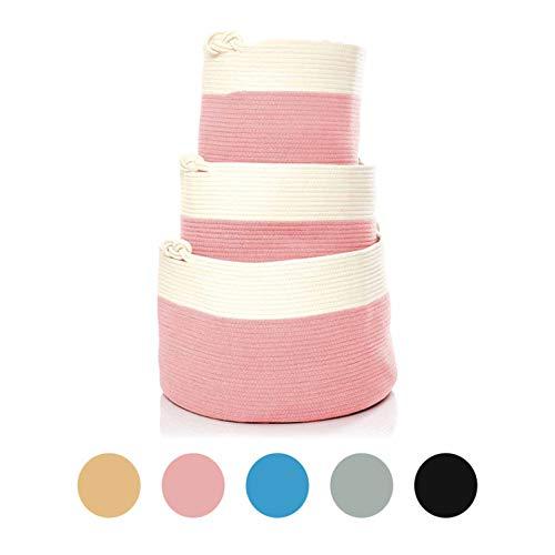 Skojig Großer Wäschekorb aus Leinen in 5 Farben (38x33cm, 35x45cm & 35x55m) - Wäschesammler Wäschesack Korb für Kinderzimmer Schlafzimmer Badezimmer | Wäschetruhe Aufbewahrungskorb Laundy Basket