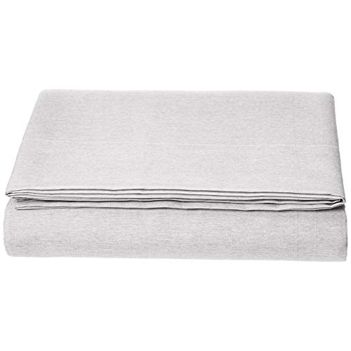 AmazonBasics Bettlaken, Mikrofaser, melierter Stoff, 180 x 290cm + 10cm, Grau (Soft Grey)