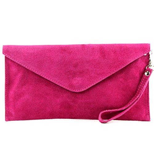 modamoda de - T106 - ital Clutch Abendtasche aus Wildleder, Farbe:Pink
